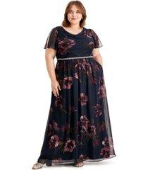 sl fashions plus size floral-print maxi dress