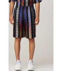 versace short versace silk bermuda shorts with neon greca print