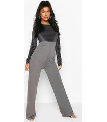 petite mesh top wide leg jumpsuit, grey