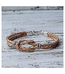 silver accent braided leather bracelet, 'square knot in tan' (thailand)