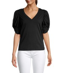 avec les filles women's puffed-sleeve cotton top - black - size l