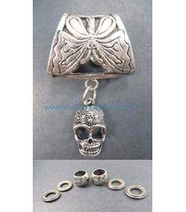 us seller-skull pendant slider scarf ring diy scarf jewelry