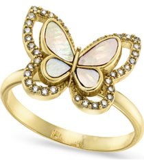 charter club gold-plate pave & mother-of-pearl butterfly ring, created for macy's