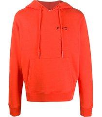 off-white logo-print drawstring hoodie - orange