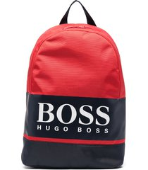 boss kidswear logo print zip-up backpack - red