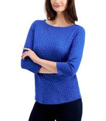 charter club cotton metallic-dot 3/4-sleeve top, created for macy's