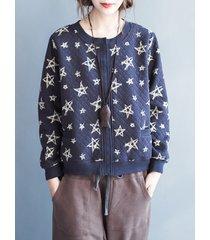 giacche da donna con bottoni stampati stelle casual