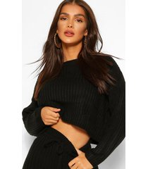 knitted rib blouson sweater and legging co-ord, black