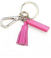 royce new york mini tassel key chain - bright pink