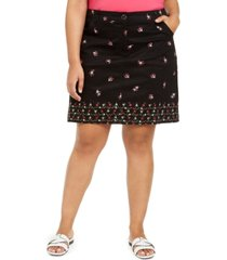 karen scott plus size daisy-print skort, created for macy's