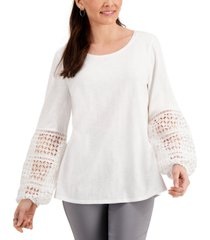 jm collection crochet-sleeve blouson top, created for macy's