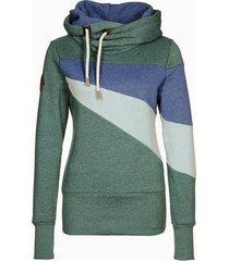 chic long sleeve hooded hit color women's hoodie