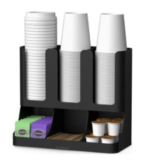 mind reader 6 compartment upright breakroom coffee condiment and cup storage organizer