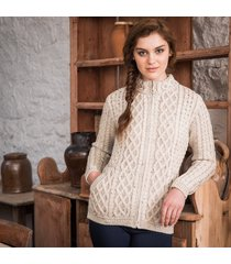 the kenmare aran cardigan beige xl