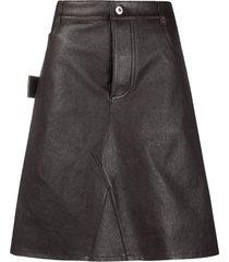 bottega veneta leather a-line skirt - brown