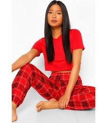 petite oversized t-shirt en geruite pyjama broek set, red
