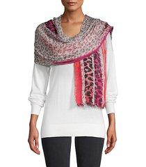 leopard-print frayed-trim scarf