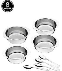 jogo de sobremesa aço inox tramontina 8 peças service prata