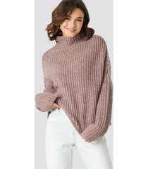 na-kd trend boxy high neck knitted sweater - pink
