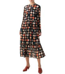 women's akris punto wood block dot tiered long sleeve dress