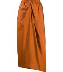 christian wijnants draped midi skirt - orange
