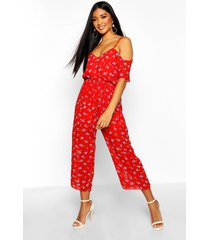 floral cold shoulder cropped jumpsuit, blue