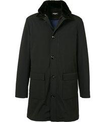 kiton elbow patch coat - black