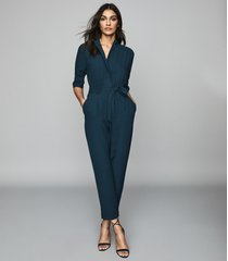 reiss freya - utility jumpsuit in teal, womens, size 12