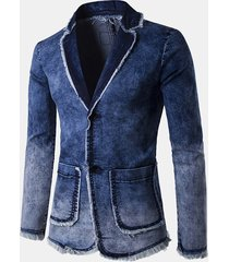 casual business blue tute blazer lavato in denim con tinta unita color denim moda per uomo