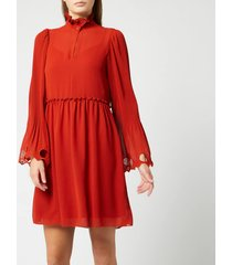 see by chloé women's frill detail dress - earthy red - fr 42/uk 14 - red