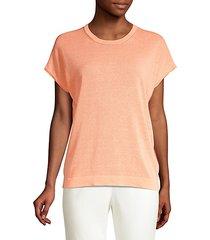 linen-blend short sleeve sweater