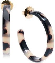 "zenzii medium gold-tone & acetate thin open hoop earrings 1-1/4"""