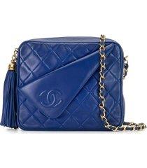 chanel pre-owned 1985-1993 tassel flap shoulder bag - blue