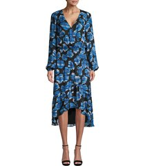 parker women's elizabeth silk blend floral blouson dress - tidal rains - size xxs