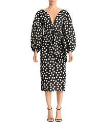 polka dot puff-sleeve tie-waist sheath dress