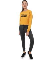pantalón para mujer jogger unicolor color gris oscuro, talla l