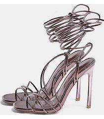 robin purple ankle tie strappy sandals - purple