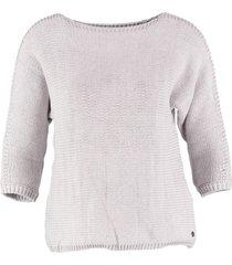 garcia korte grijze trui 3/4 mouw katoen polyamide