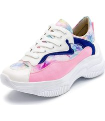 tenis casual feminino dad sneaker chunky tie dye rosa bebe/marinho