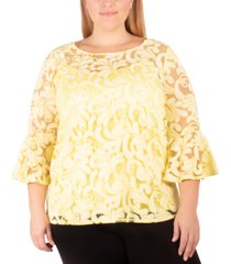 ny collection plus size lace bell-sleeve tunic