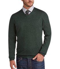 joseph abboud dark green v-neck merino wool sweater