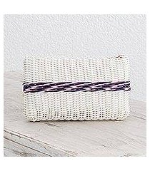 recycled plastic cosmetic bag, 'enchantment of color in white' (guatemala)