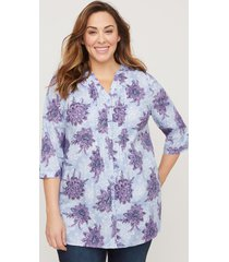 morning mist button-front top