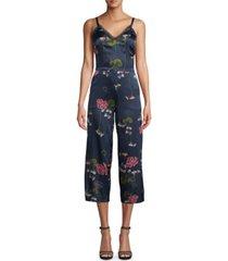 nicole miller lilypad floral-print seam-waist jumpsuit