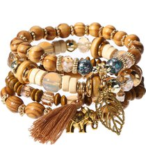 braccialetti con perline a forma di elefante con nappe a foglie cave etniche braccialetti con elastico a forma di elastico a più strati