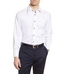 men's big & tall david donahue trim fit dress shirt, size 18 - 34/35 - white