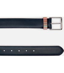 ps paul smith men's signature stripe keeper leather belt - navy - w38