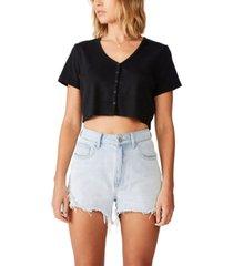 cotton on jessie button through henley shorts sleeve top