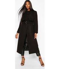 longline ring detail wool look coat, black
