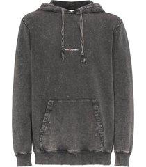 saint laurent printed logo distressed hoodie - grey